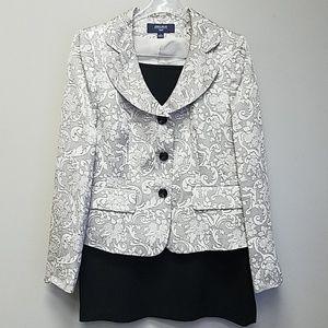 Beige Floral Print Suit Set